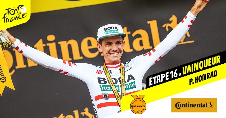 Patrick Konrad attacks solo twice to take tremendous win on Tour de France stage 16
