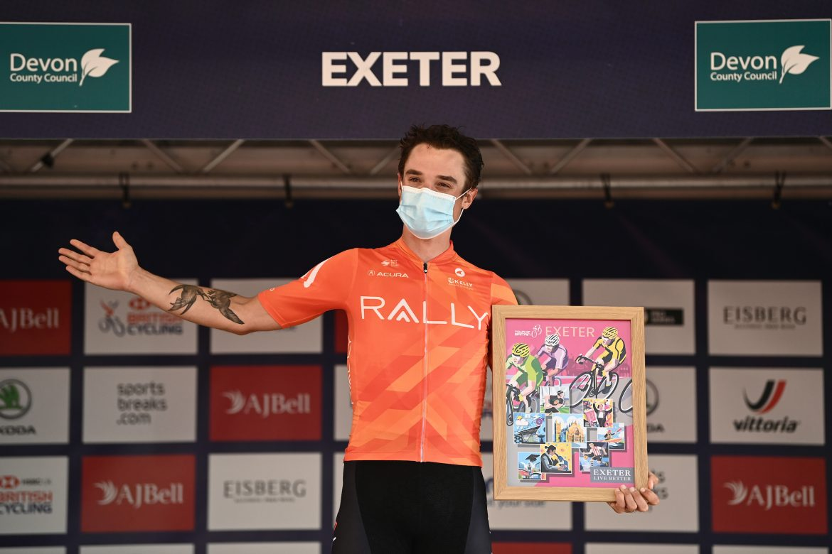 Robin Carpenter wins stage two of the AJ Bell Tour of Britain in Exeter