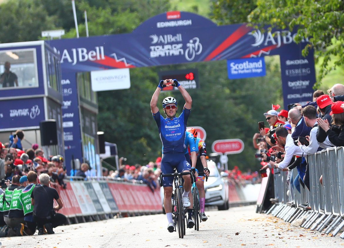 Yves Lampaert wins Stage Seven of the AJ Bell Tour of Britain cycle race in Edinburgh